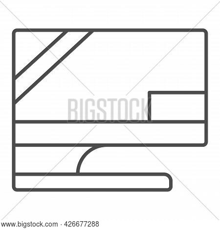 Monitor On Original Stand Thin Line Icon, Monitors And Tv Concept, Screen Set Basic Stand Vector Sig