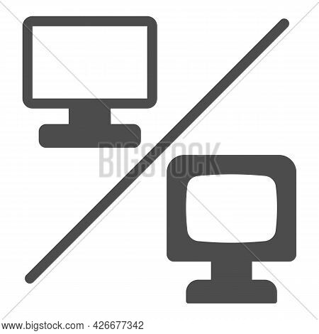 Flat Versus Convex Monitor Solid Icon, Monitors And Tv Concept, Curved Vs Flat Screen Vector Sign On