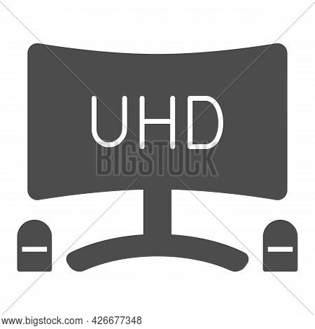 Uhd Monitor With Speakers Solid Icon, Tv Monitors Concept, Tv Set With Loudspeaker Vector Sign On Wh