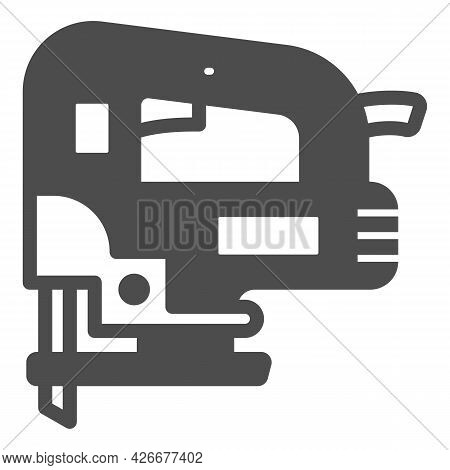 Jigsaw Solid Icon, Construction Tools Concept, D Handle Jig Saw Vector Sign On White Background, Gly