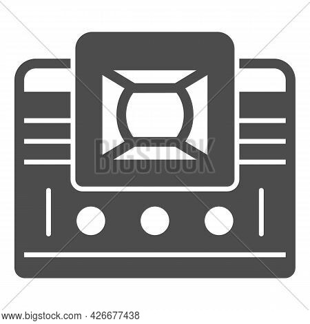 Retro Tv With Lens Solid Icon, Monitors And Tv Concept, Vintage Old Tv With Optic Lens Vector Sign O