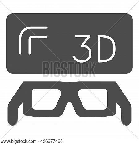 3d Screen And Glasses Solid Icon, Tv Concept, Three Dimensional Monitor And Spectacles Vector Sign O