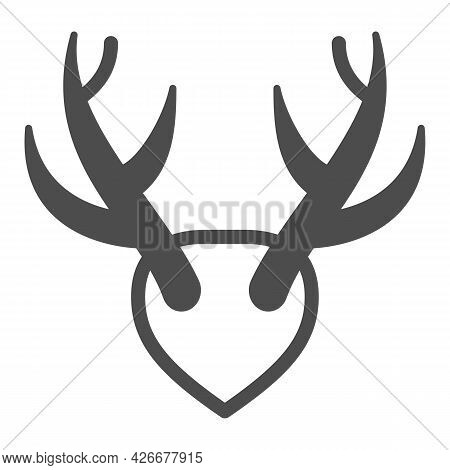 Horns As Trophy Solid Icon, Hunting And Decoration Concept, Mounted Antlers Horn Vector Sign On Whit