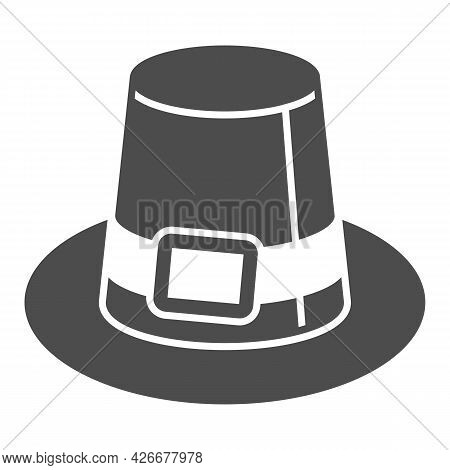Farmer Hat For Men Solid Icon, Headware Concept, Thanksgiving Pilgrim Top Hat Vector Sign On White B
