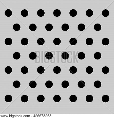Peg Board With Round Holes. Grey Peg Board Perforated Texture Background For Working Bench Tools. Ve