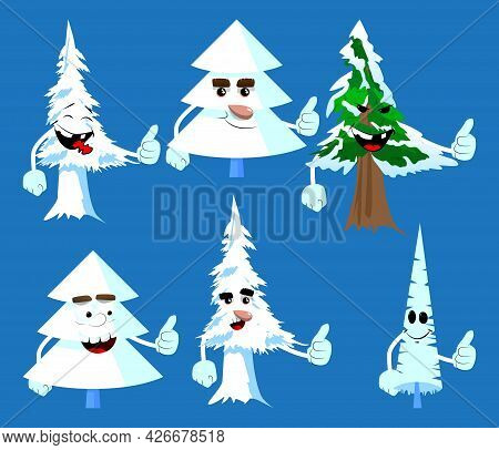 Cartoon Winter Pine Trees With Faces Making Thumbs Up Sign. Cute Forest Trees. Snow On Pine Cartoon