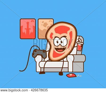 Cute Meat People Playing Video Games On Couch Sofa While Enjoying Snack Vector Character Cartoon Mas