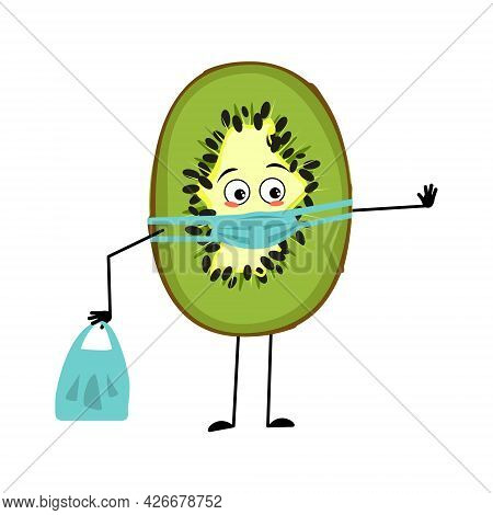 Cute Kiwi Characters With Emotions, Face And Mask Keep Distance, Hands With Shopping Bag And Stop Ge