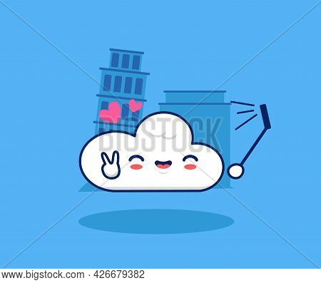 Cute Cloud Take Selfie In Holiday Landmark Cartoon Illustration. Happy Traveling Holiday Concept