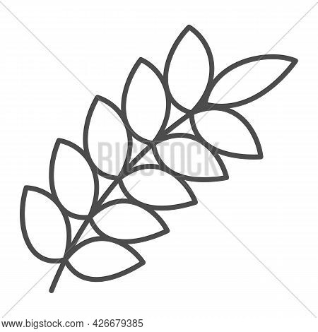 Wheat Ear Thin Line Icon, Food Harvest Concept, Wheat Spikelet Vector Sign On White Background, Outl