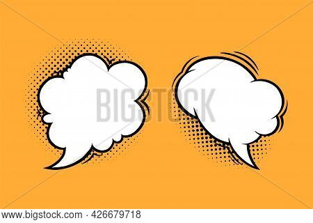 Cloud Speech Bubbles With Halftone Shadows In Comic Style. Vintage Speech Boxes Isolated In Yellow B