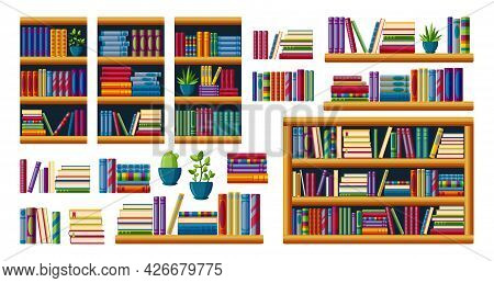 Bookshelves With Bestsellers To Read. Piles Of Books With Shelves, Racks And Cases. Cartoon Vector I