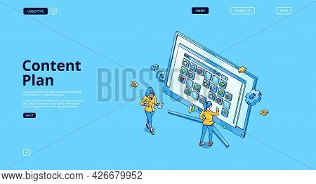 Content Plan Banner. Concept Of Organization Work In Social Media, Publication Management. Vector La
