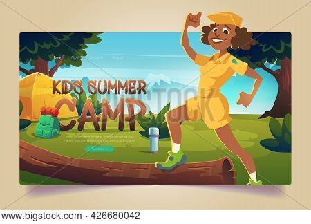 Kids Summer Camp Cartoon Landing Page, Cheerful Counselor In Boyscout Uniform At Hike Forest Camping