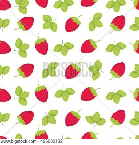 Colorful Pattern Of Strawberry And Leaves. Tasty Strawberries On Branches. Vector Illustration