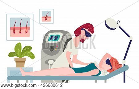Laser Hair Removal Concept. The Cosmetologist Doctor In His Salon Makes A Woman Laser Hair Removal A