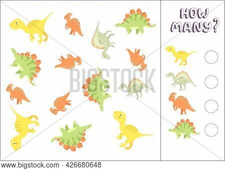 Counting Game For Preschool Kids. Educational Math Game. Count How Many Dinosaurs There Are And Writ