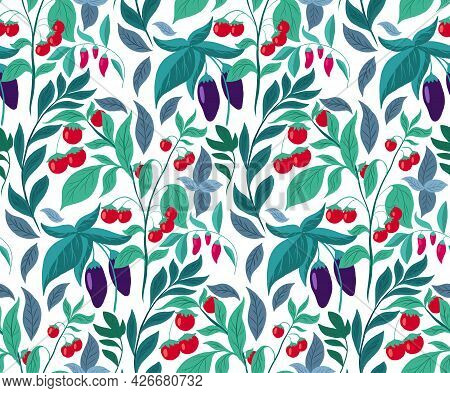 Seamless Pattern With Vegetables And Foliage. Vector Texture With Eggplants, Cherry Tomatoes, Chili