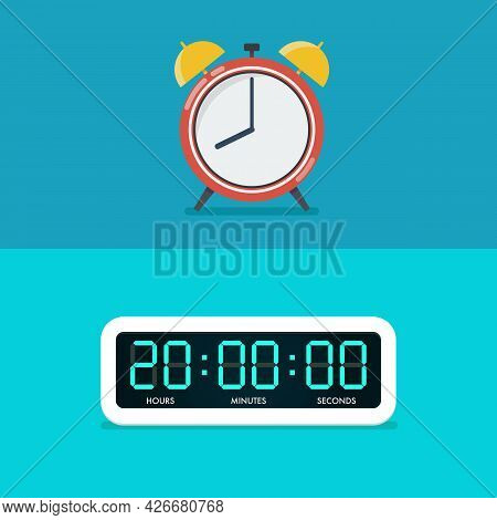 Old And Digital Alarm Clocks. Vector Illustration