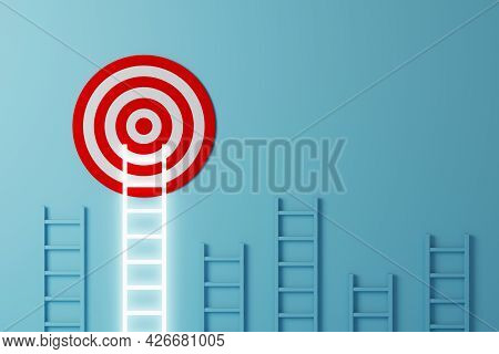 Stand Out From The Crowd And Think Different Creative Idea Concepts. Longest White Ladder Growing Up