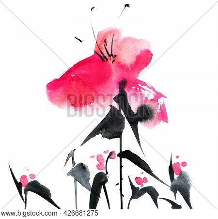 Watercolor And Ink Illustration Of Pink Flowers On White Background. Oriental Traditional Painting I