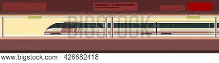 High-speed Train At The Metro Station. Suburban And Urban Underground Transport. Railway With A Loco