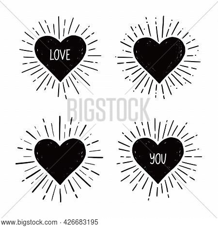 Heart With Love Text. Hand Drawn Sketch Style. Heart Vector Illustration For Sunburst Frame, Love Qu