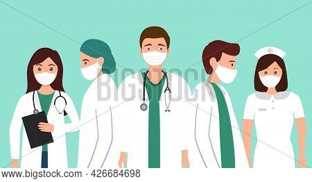 Group Of Medical Staff Concept Vector Illustration. Doctor, Nurse And Medical Technician Team In Fla
