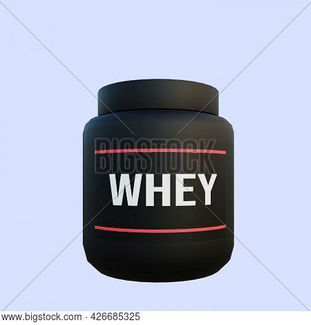 3d Illustration Of Whey Protein Milk Fitness
