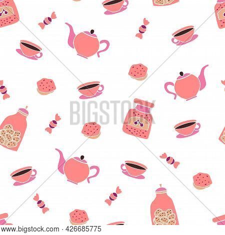 Vector Seamless Pattern Of Sweets And Tea Party. Background For A Cards Or Poster For A Holiday Invi