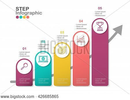 Step Infographic Vector, Working Process Diagram With Line Icon In Eps10 Vector.5 Steps , Options In
