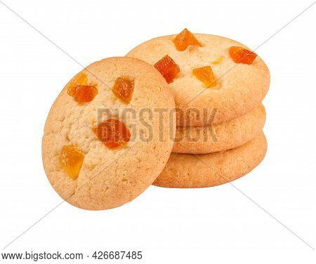 Stack Of Almond Biscuits With Dried Apricot Isolated On White