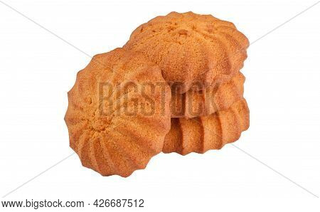 Crunchy Butter Shortbread Biscuits Isolated On White Background