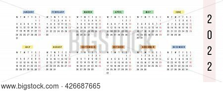 Modern Horizontal Calendar 2022 Year. Planner In Bright Colorful Style. Minimalistic Annual Diary Pa