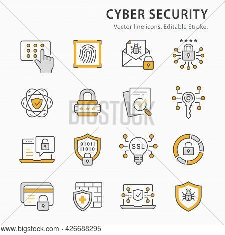 Cyber Security Icon Set. Collection Of Antivirus Firewall, Email Virus Threat, Digital Key And More.