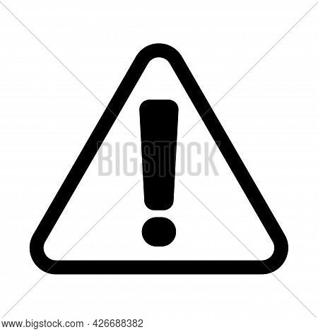 Warning, Danger, Caution. Vector Icon  Isolated On White.