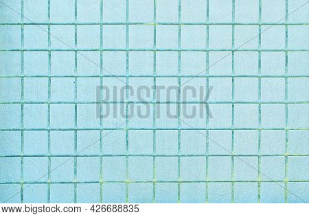 The Background Is Made Of Blue Metal Mesh And Coarse Fabric.