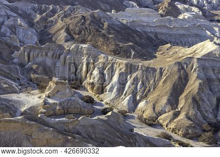 View Of The Sandy And Chalk Mountains Of The Negev Desert. Erosion.
