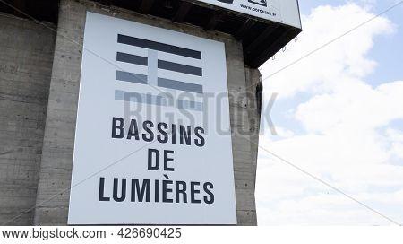 Bordeaux , Aquitaine France - 07 07 2021 : Les Bassins De Lumieres Largest Digital Art Center In The