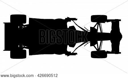 Silhouette Of A Racing Car Isolated On A White Background. View From Above. Vector Illustration