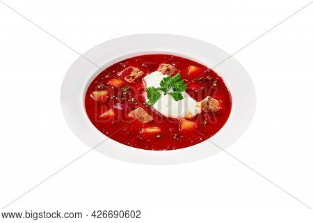 Red Borscht With Sour Cream Isolated On White Background