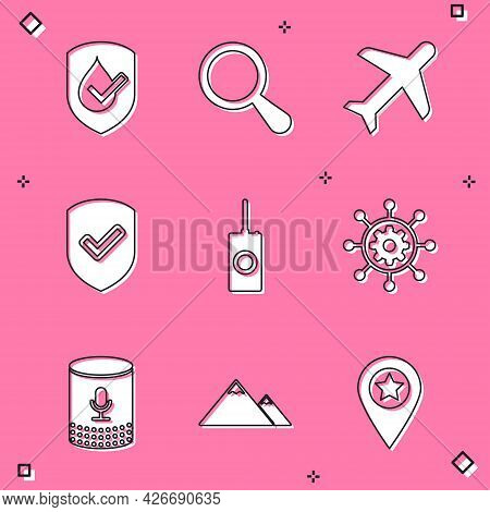 Set Waterproof, Magnifying Glass, Plane, Shield With Check Mark, Remote Control And Project Manageme