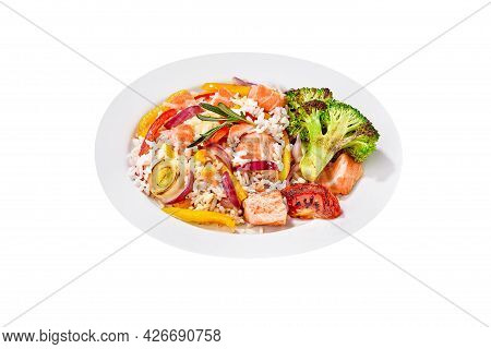 Rice Pilaf With Salmon And Vegetables Isolated On White