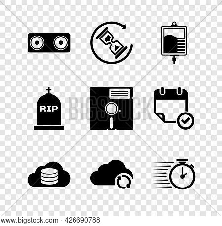 Set Stereo Speaker, Waiting, Iv Bag, Cloud Database, Sync Refresh And Stopwatch Icon. Vector