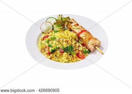 Vegetable Rice With Chicken Skewer Isolated On White