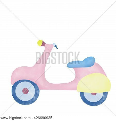 Watercolor Aquarelle Illustration For Kids Children. Scooter On White Background Hand Drawn Digital