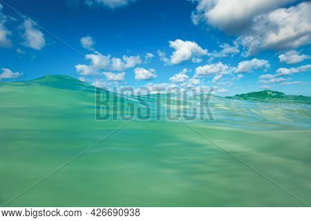 Sea Wave And Blue Sky With Cloud. Punta Cana, Dominican Republic