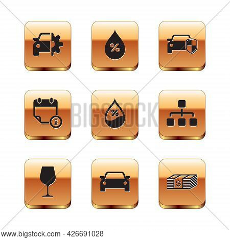 Set Car Service, Wine Glass, , Water Drop Percentage, Calendar And Clock And Protection Or Insurance
