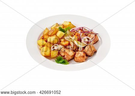 Fried Pork Meat With Potatoes Isolated On White Background
