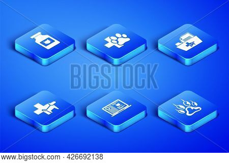 Set Paw Print, Cat Medicine Bottle, Clinical Record Cat On Laptop, Veterinary Clinic, And Medical Ve